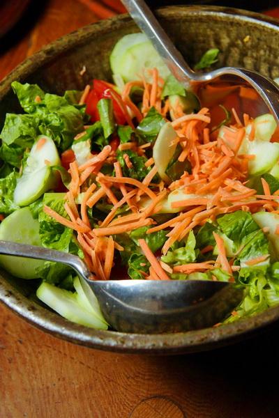 Fresh Salad and Serving Tongs